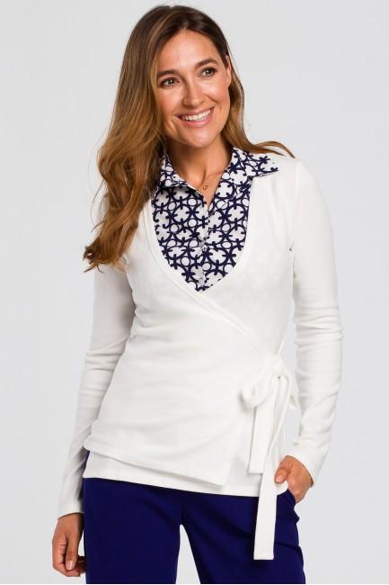 Sweterek kopertowy wiązany na zakładkę - ecru