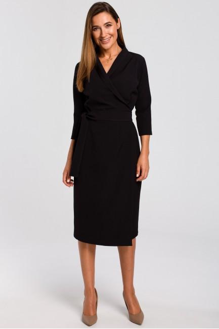 Kopertowa sukienka z paskiem w talii - czarna