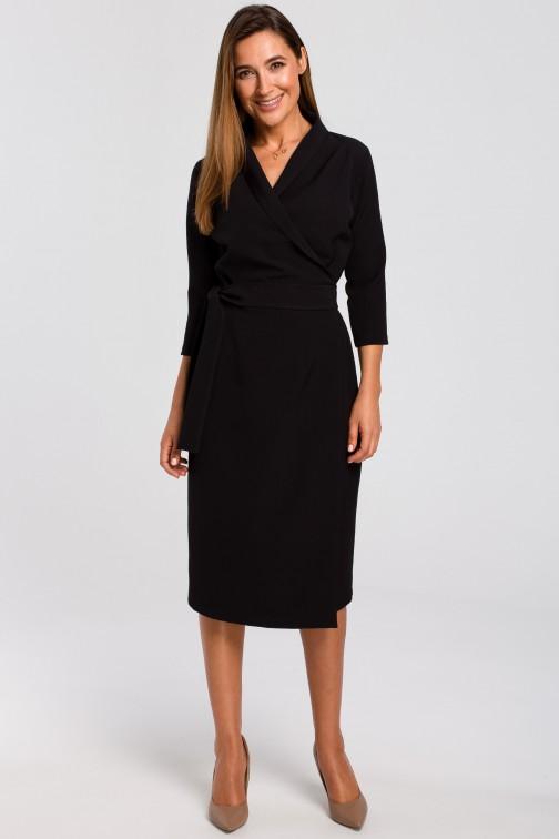 CM4637 Kopertowa sukienka z paskiem w talii - czarna