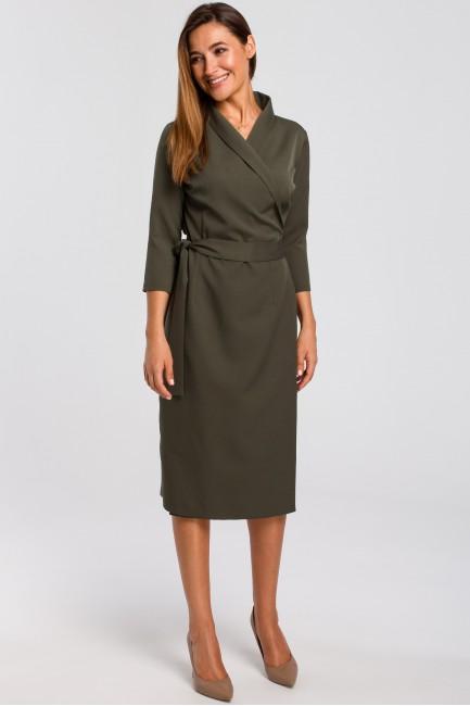 Kopertowa sukienka z paskiem w talii - khaki