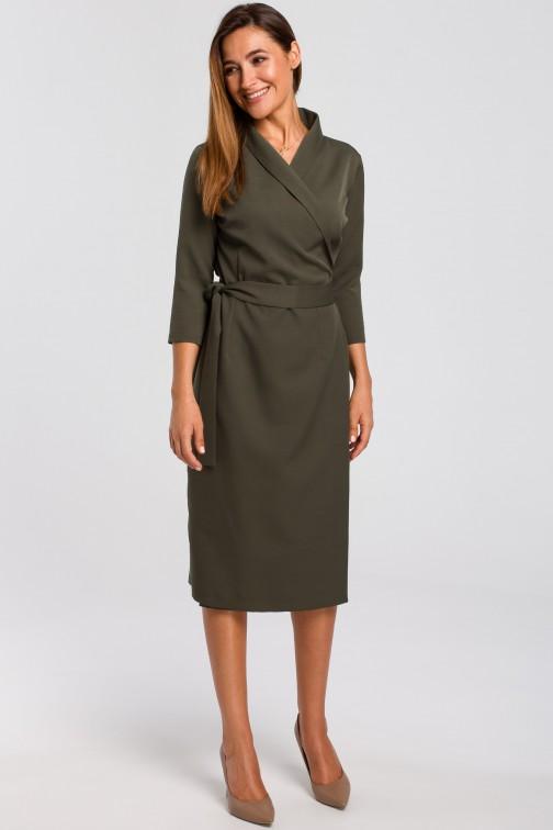 CM4637 Kopertowa sukienka z paskiem w talii - khaki