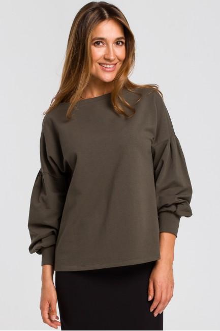 Bluzka z bufiastymi rękawami - oliwkowa