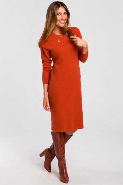 Sukienka swetrowa z długim rękawem - ruda
