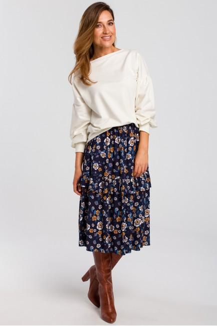 Zwiewna spódnica midi w kwiaty - model 2