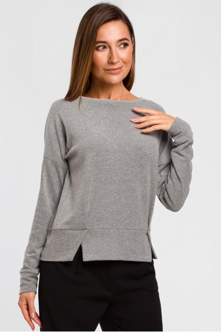 Sweterek z rozcięciami na dole - szary