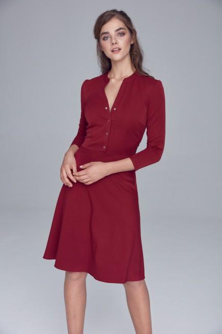 Sukienka zapinana na napy - bordowa