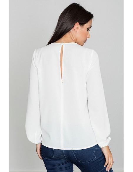 Damska bluzka z długim rękawem - ecru