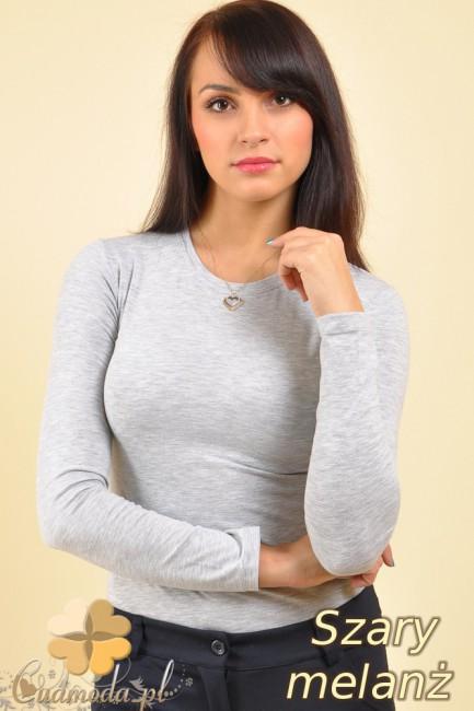 Gładka bluzka z długim rękawem - szary melanż