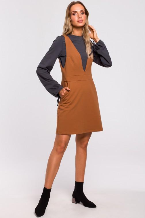 CM4765 Sukienka bezrękawnik - karmelowa