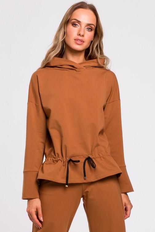 CM4767 Bluza ze sznurkiem na dole - karmelowa