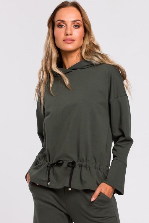 CM4767 Bluza ze sznurkiem na dole - militarno-zielona