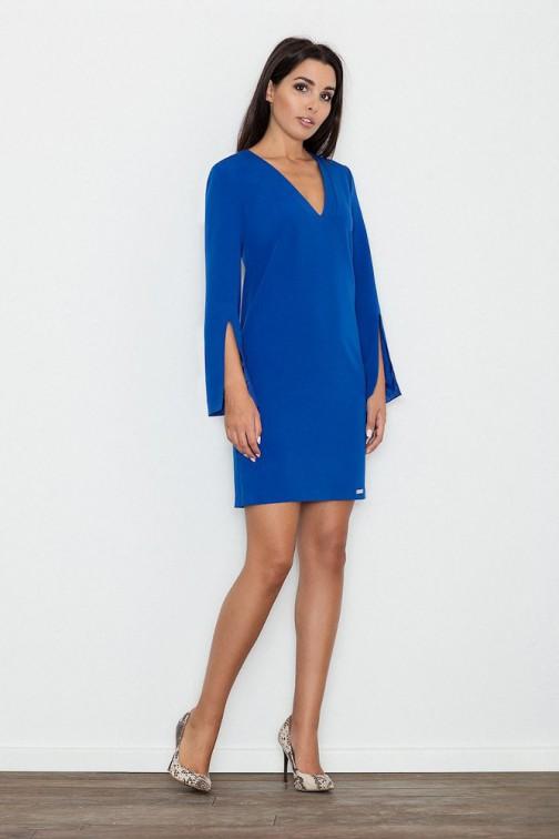 CM3234 Elegancka sukienka z rozciętymi rękawami - niebieska