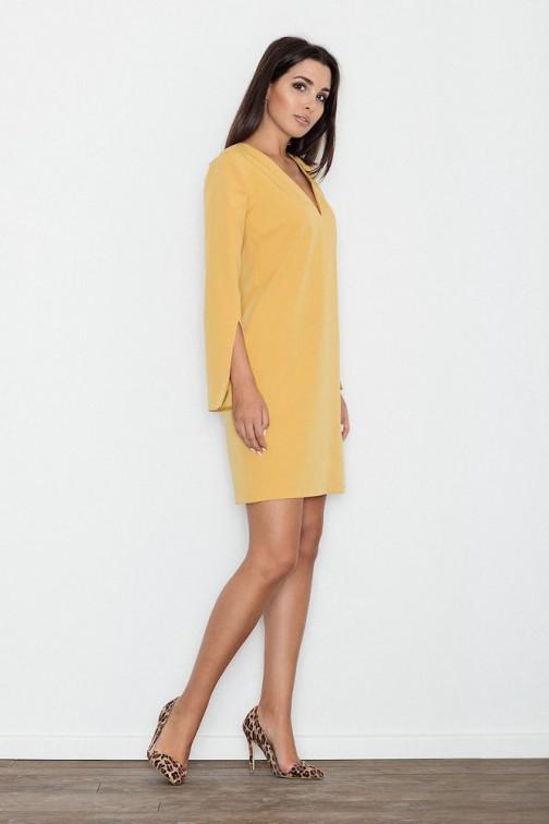 CM3234 Elegancka sukienka z rozciętymi rękawami - żółta