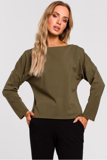 Bluzka z dekoltem na plecach - khaki
