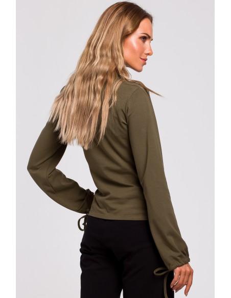 Bluzka z bufiastymi rękawami i wiązaniem - khaki