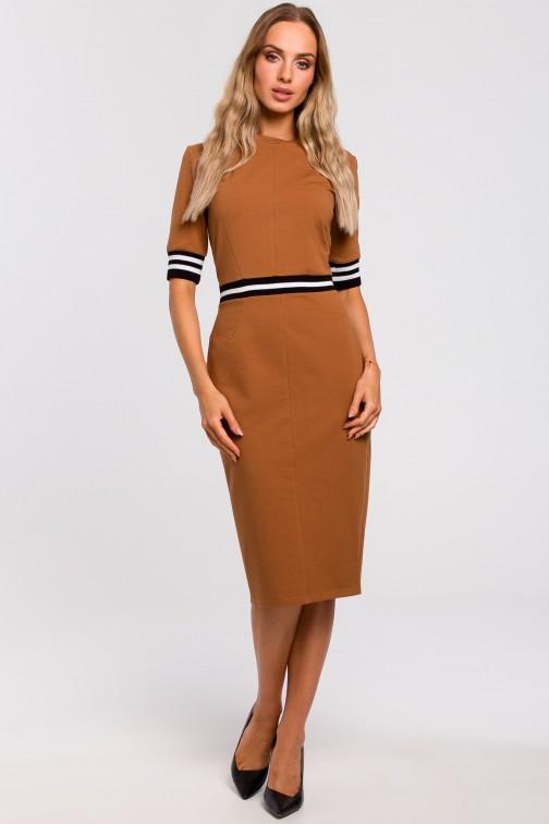 CM4779 Sukienka ze wstawkami ze ściągacza - karmelowa