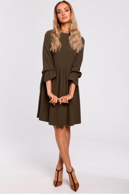 Sukienka z rękawami i falbanką - khaki