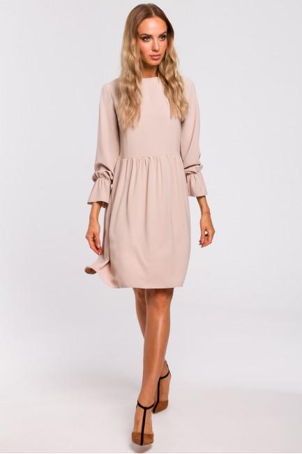 Sukienka z rękawami i falbanką - beżowa