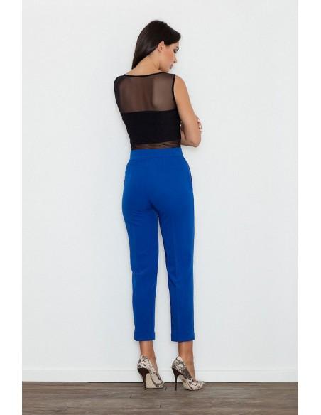 Klasyczne spodnie damskie z mankietem - niebieskie
