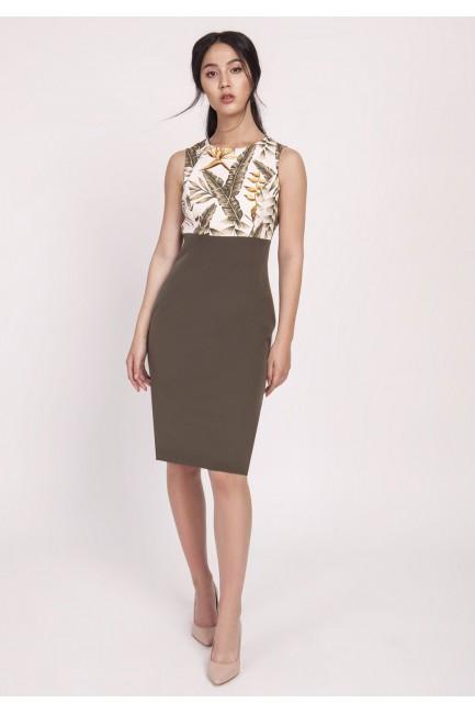 Kobieca sukienka o klasycznym kroju - khaki