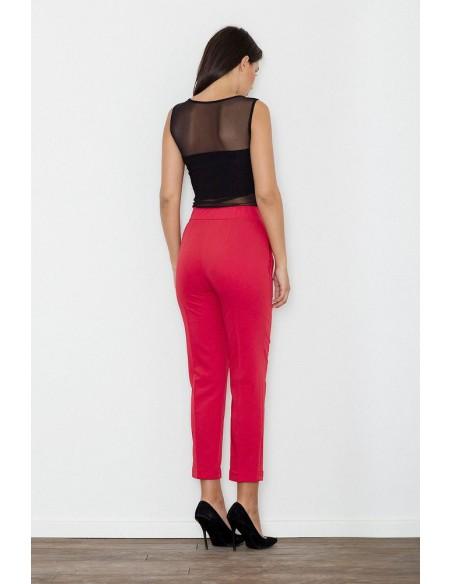 Klasyczne spodnie damskie z mankietem - czerwone