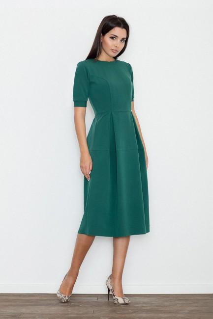 Odcinana sukienka midi w kontrafałdy - zielona