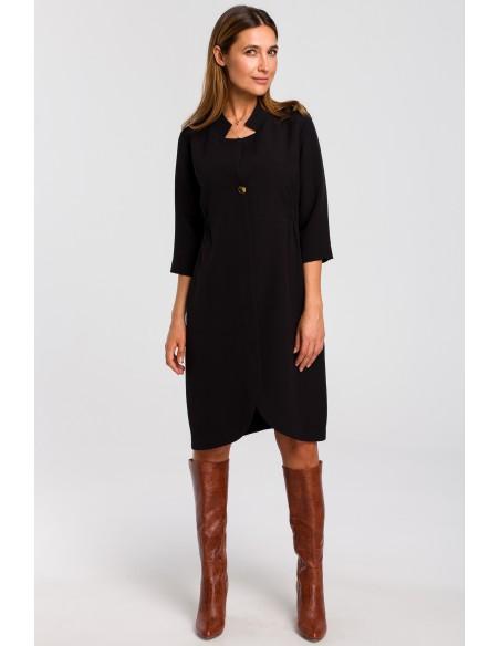 Sukienka żakietowa z gumką - czarna