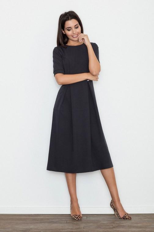 CM3237 Odcinana sukienka midi w kontrafałdy - czarna