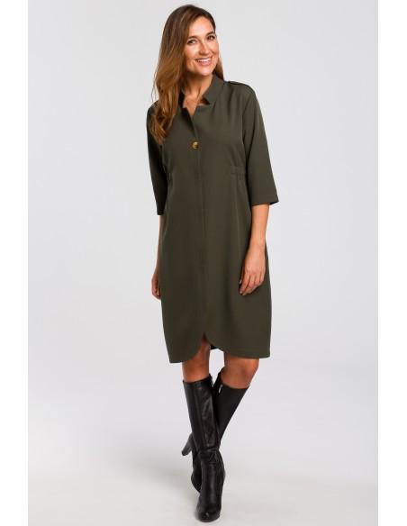 Sukienka żakietowa z gumką - khaki