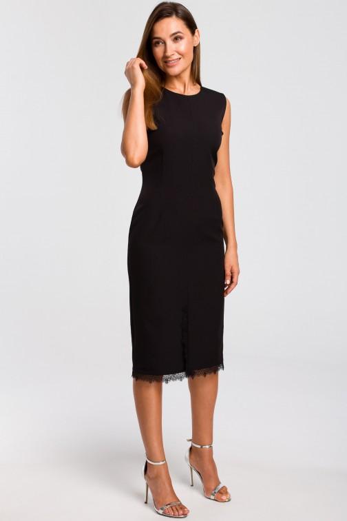 CM4792 Sukienka z rozcięciem na dole - czarna