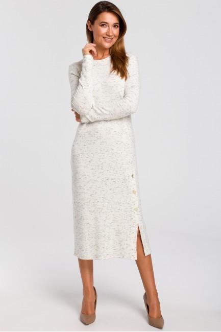Sukienka swetrowa z ozdobnymi guzikami - ecru