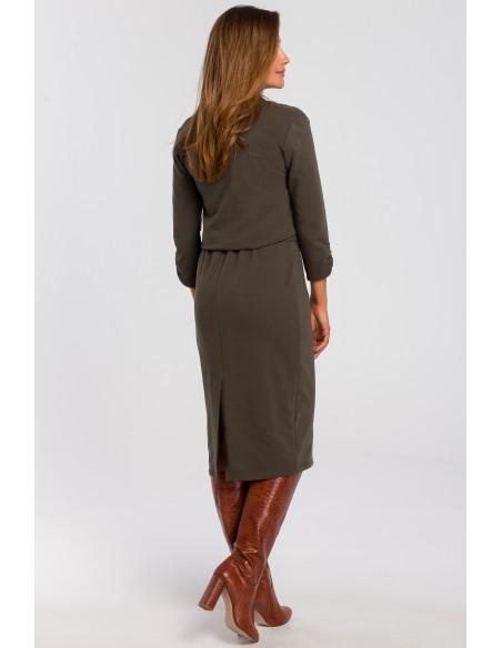 Sukienka dzianinowa z dekoltem - oliwkowa