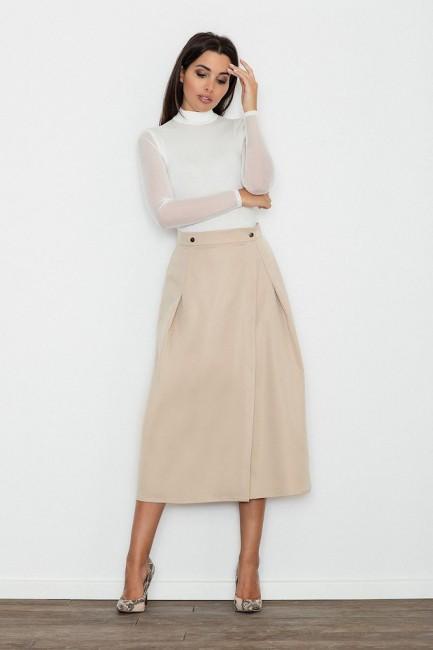 Trapezowa spódnica midi z zakładkami - beżowa