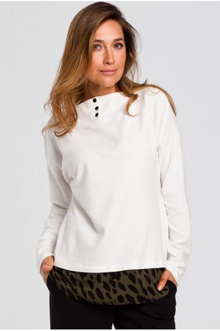Sweter warstwowy z guzikami pod szyją - ecru