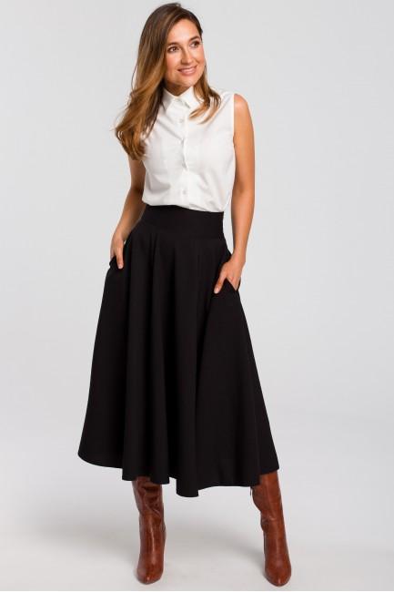 Rozkloszowana spódnica midi - czarna