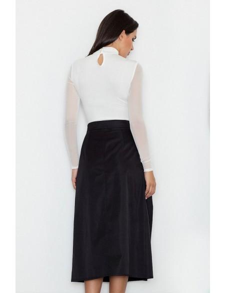 Trapezowa spódnica midi z zakładkami - czarna