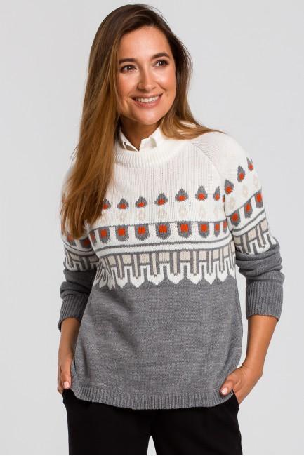 CM4801 Sweter we wzory - ecru