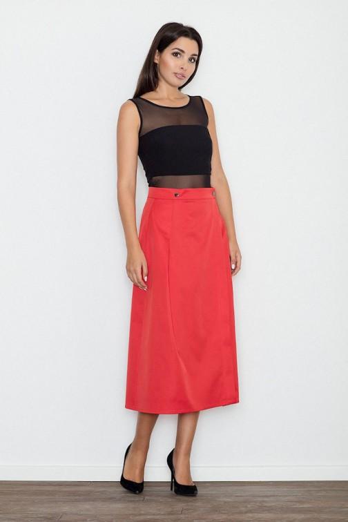 CM3238 Trapezowa spódnica midi z zakładkami - czerwona