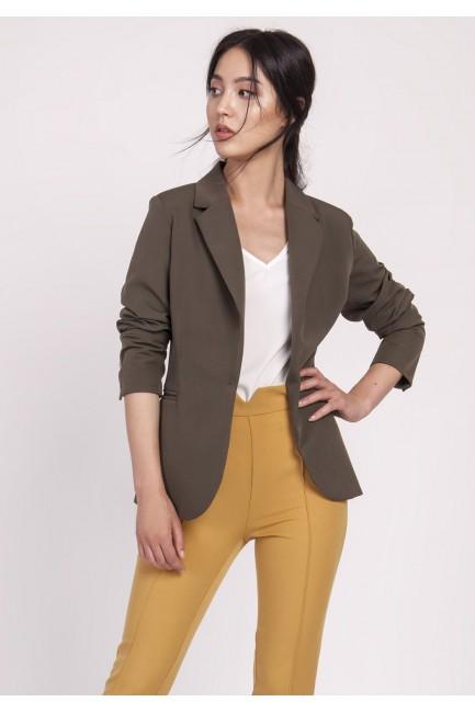 Klasyczny zapinany żakiet - khaki