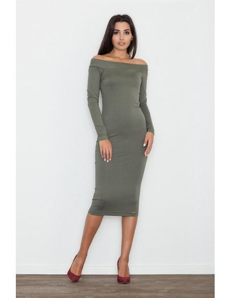 Dopasowana biurowa sukienka - oliwkowa