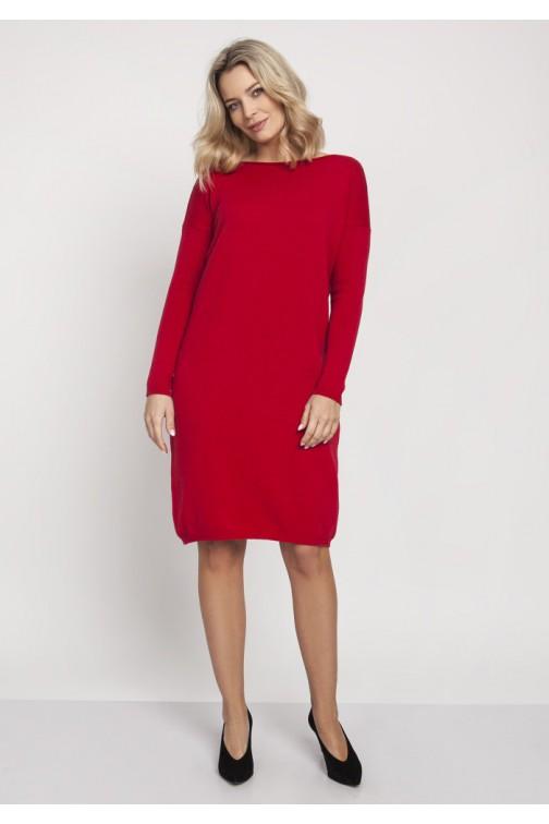 CM4670 Prosta dzianinowa sukienka - czerwona