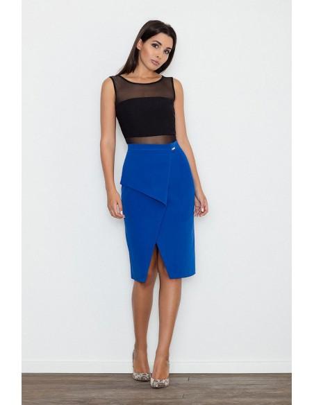 Dopasowana spódnica z rozcięciem - niebieska
