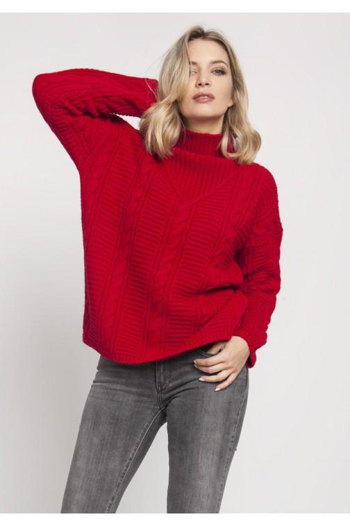 CM4674 Dzianinowy sweter z golfem oversize - czerwony