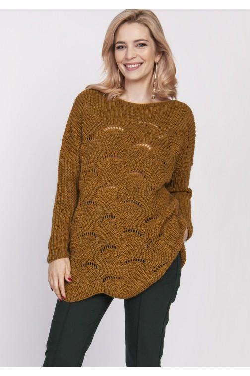 CM4676 Sweter oversize z szerokim dekoltem - musztardowy