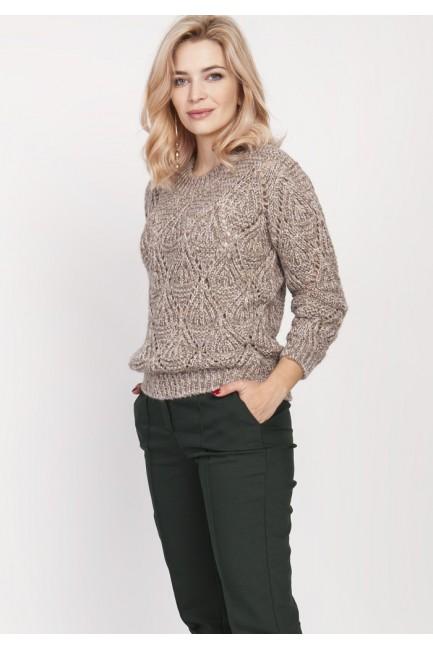 Ażurowy sweter z długim rękawem - mocca