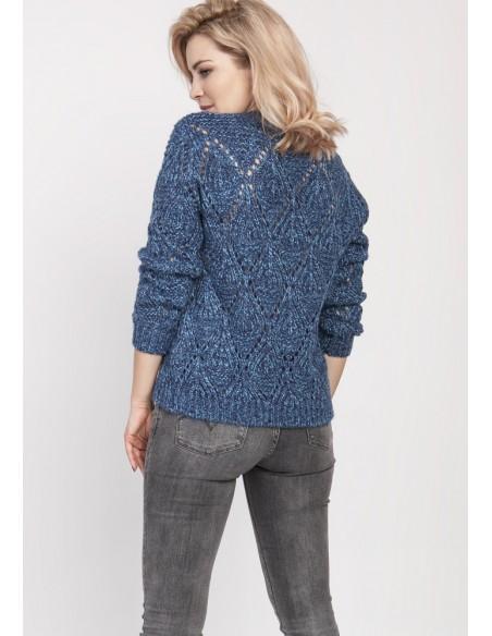 Ażurowy sweter z długim rękawem - jeansowy