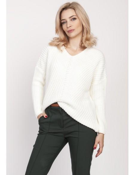 Duży wygodny sweter - ecru