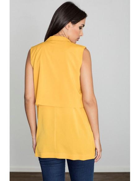 Niezapinana kamizelka bez rękawów - żółta