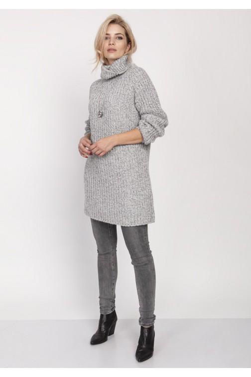 CM4684 Dzianinowa sukienka z dużym golfem - szara