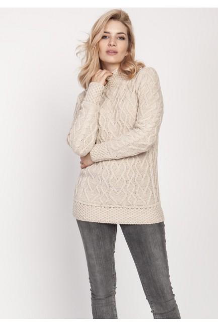 Elegancki sweter z półgolfem - beżowy